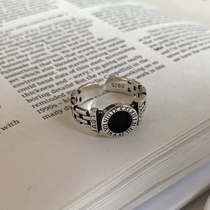 NEW 925 Silver Black Onyx Love Chain Ring Band